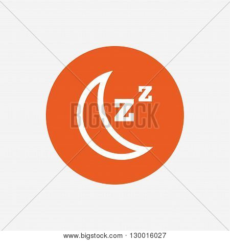Sleep sign icon. Moon with zzz button. Standby. Orange circle button with icon. Vector