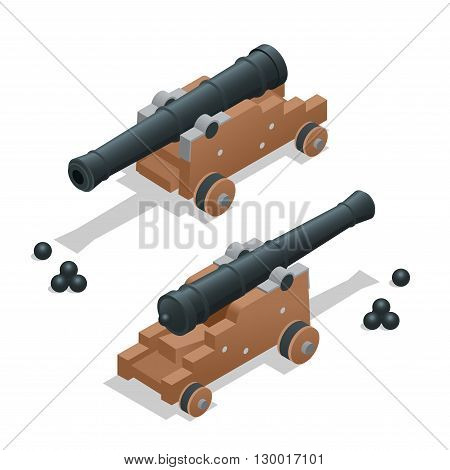 Ancient cannon with cannon balls. Artillery gun.  Old cannon Flat 3d vector isometric illustration.