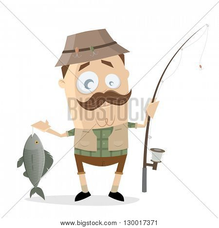 funny cartoon angler with a big fish and fishing rod