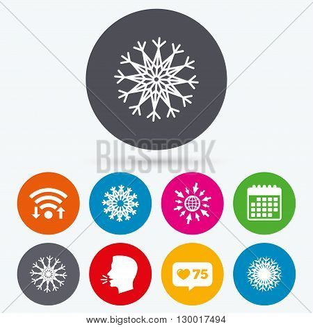 Wifi, like counter and calendar icons. Snowflakes artistic icons. Air conditioning signs. Christmas and New year winter symbols. Human talk, go to web.