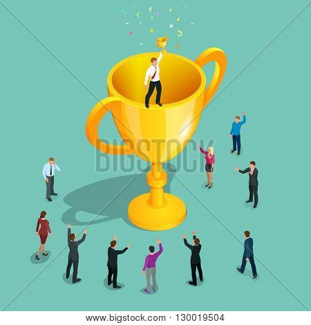 Winner. Innovative thinking, leadership. Businessman holding trophy winner cup. Successful business story concept. Flat 3d vector isometric illustration
