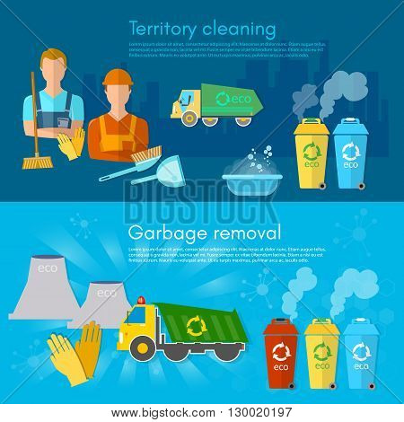 Garbage banner garbage sorting scavenger team sorting waste for recycling separation of waste on garbage bins vector