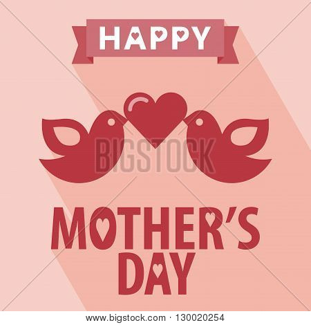 Happy mothers day card vintage retro type font. Happy mothers day with Long Shadow. All in a single layer. Vector illustration. Elements for design.