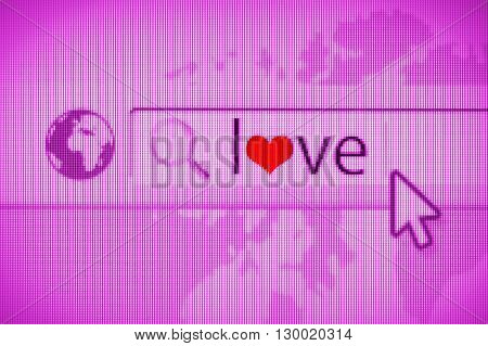 Web navigator with the Love symbol. Looking for love online. Empty copy space for Editor's text.