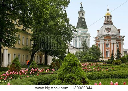 Sergiev Posad, Russia - May 23: These are some churches and garden into Trinity-Sergius Laurus of Russian Orthodox Patriarchate May 23, 2013 in Sergiev Posad, Russia.