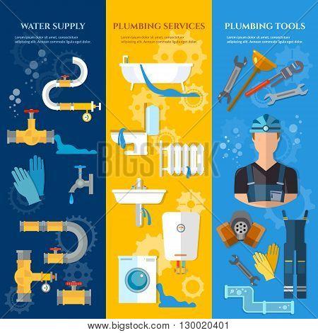 Professional plumber banners plumbing repair plumbing tools plumbing service vector illustration