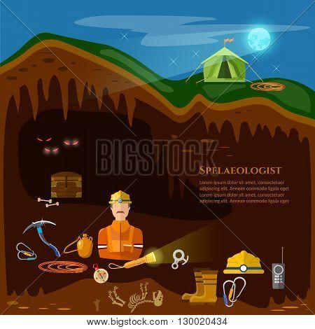 Speleology caves study underground mines professional speleologist vector illustration