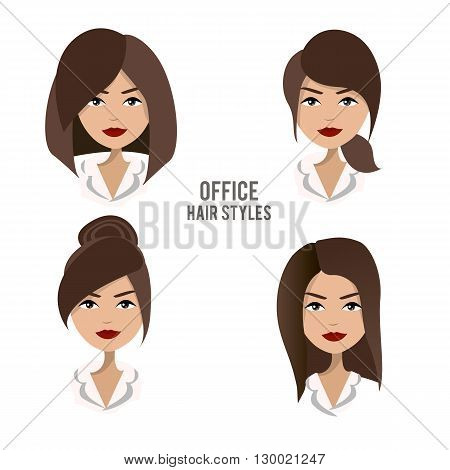 Vector set of hair styles and hairdos for office female workers. Friendly, positive, pretty brunette office female character design. Business woman, boss, assistant, secretary, manager, staff