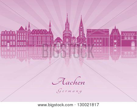 Aachen skyline in purple radiant orchid in editable vector file