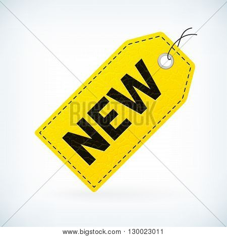 yellow leather new price vector label. Business detailed new label. isolated from background. layered.