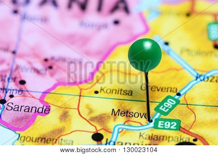 Metsovo pinned on a map of Greece