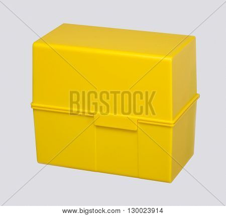 yellow address storage box in grey back