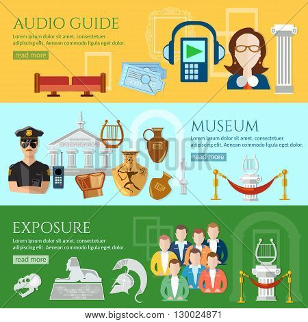 Museum banner tour guide at the museum group excursions antiquity and natural science exposition ancient civilizations vector illustration poster