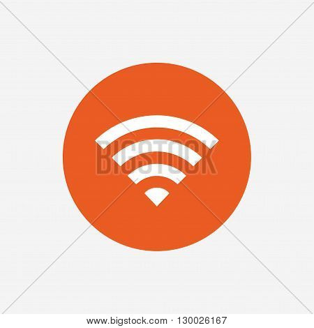 Wifi sign. Wi-fi symbol. Wireless Network icon. Wifi zone. Orange circle button with icon. Vector