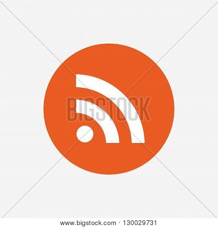 RSS sign icon. RSS feed symbol. Orange circle button with icon. Vector