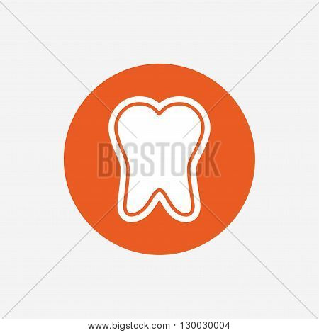 Tooth enamel protection sign icon. Dental toothpaste care symbol. Healthy teeth. Orange circle button with icon. Vector poster