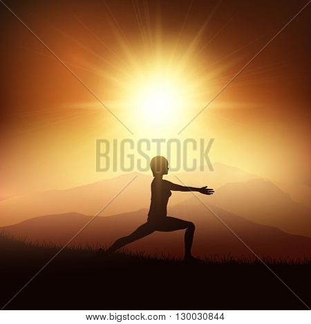 Silhouette of a female in a yoga position against a sunset landscape