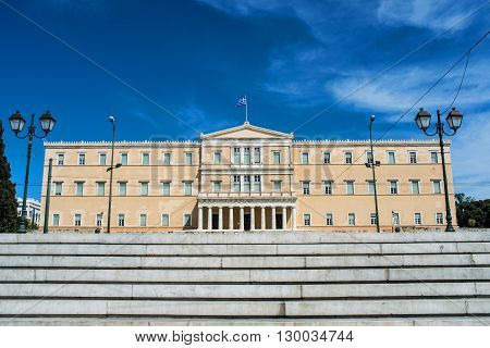 view of Greek parliament in Athens Greece