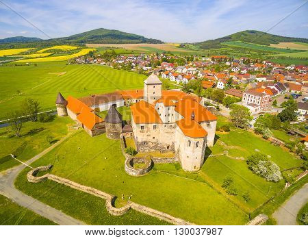 Aerial view of Svihov castle. Gothic architecture on river island. Beautiful landmark in national park Sumava, Czech Republic, Europe.