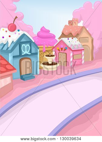 Whimsical Illustration Featuring a Town Decorated with Candies