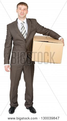 Deliveryman keeps parcel, isolated on white background