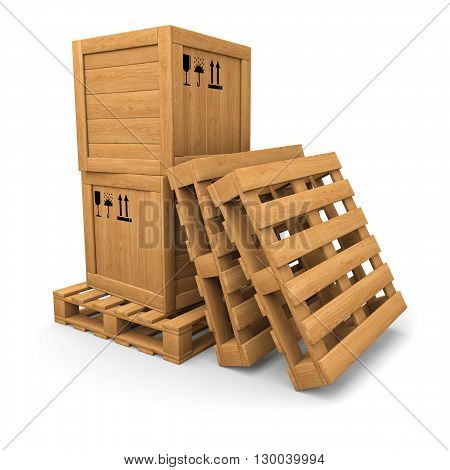 Stack of two wooden boxes on pallet. Two pallets near. Packing signs print. Isolated on white.
