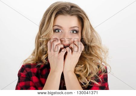 Concerned Scared Pretty Woman At White Background