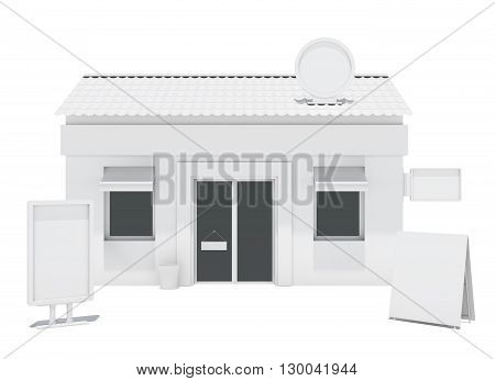 Empty store building with copy space boards. Isolated on white. 3D rendering