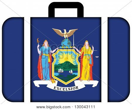 Flag Of New York State. Suitcase Icon, Travel And Transportation Concept