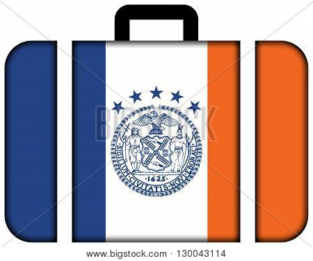 Flag Of New York City. Suitcase Icon, Travel And Transportation Concept