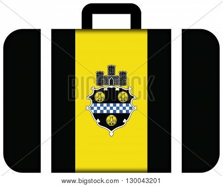 Flag Of Pittsburgh, Pennsylvania. Suitcase Icon, Travel And Transportation Concept