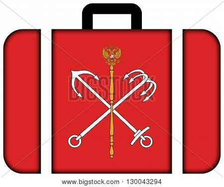 Flag Of Saint Petersburg. Suitcase Icon, Travel And Transportation Concept