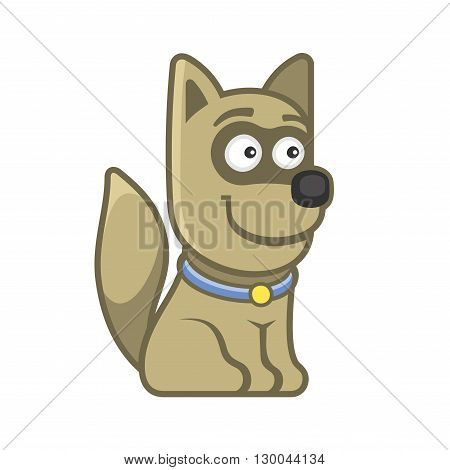 Dog. Cartoon Style Funny Animal on White Background. Vector illustration
