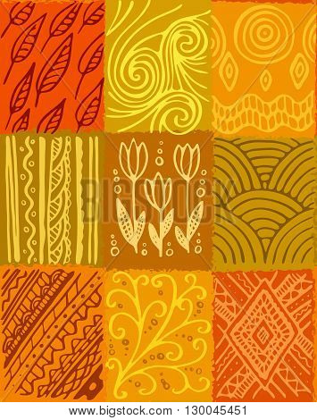 Vector abstract seamless pattern, hand drawn patchwork design, orange and yellow shades. Design for textile and wrapping paper.