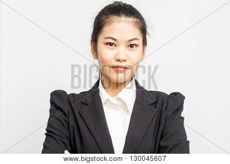 Business Asian Woman Portrait In Black Suit