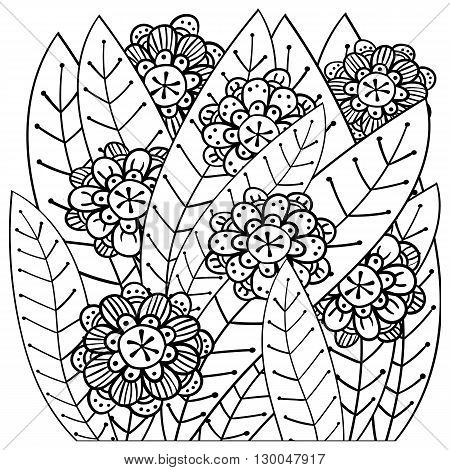 Whimsical garden adult coloring book page. Soft intricate pattern.