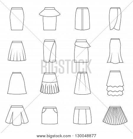 Set of skirts on white background, vector illustration