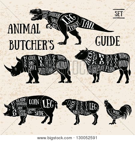Vintage Typography Guide for Cutting Meat. Butchery shop animal set.