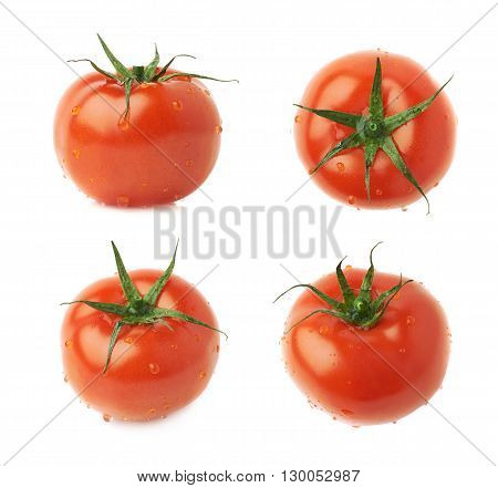 Ripe red tomato covered with the multiple water drops, isolated over the white background, set of four different foreshortenings