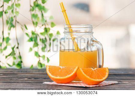 Orange, Orange Lobule, Jar of Juice on the Wooden Table. Healthy Lifestyle Concept