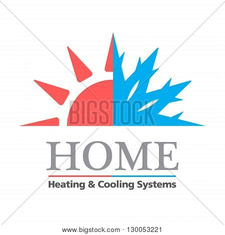 Heating & Cooling systems business icon vector template. Vector illustration symbolizing home cooling & heating climate control system. Typography proposal. Sample text. Editable poster