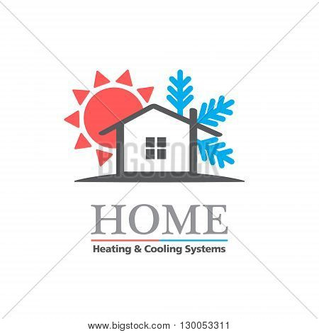 Heating & Cooling systems business icon vector template. Brand visualization template. Vector illustration symbolizing home cooling & heating climate control system. Typography proposal. Sample text. Editable
