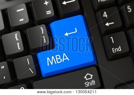 Keypad Mba on Black Keyboard. Mba Written on a Large Blue Keypad of a PC Keyboard. Concepts of Mba, with a Mba on Blue Enter Keypad on PC Keyboard. 3D Render.
