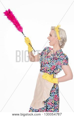 Retro Housewife, With Feather Duster, Isolated On White