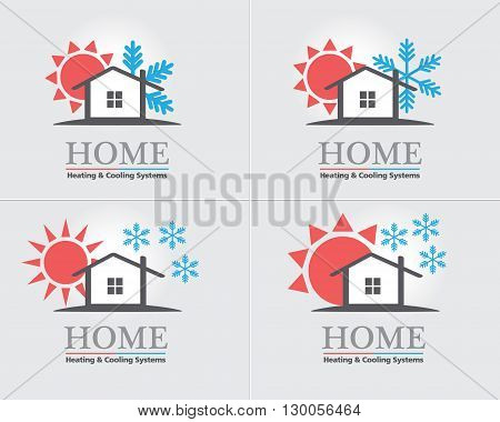 Heating & Cooling systems business icon set vector template. Brand visualization template. Vector illustration symbolizing home cooling & heating climate control system. Typography proposal. Editable