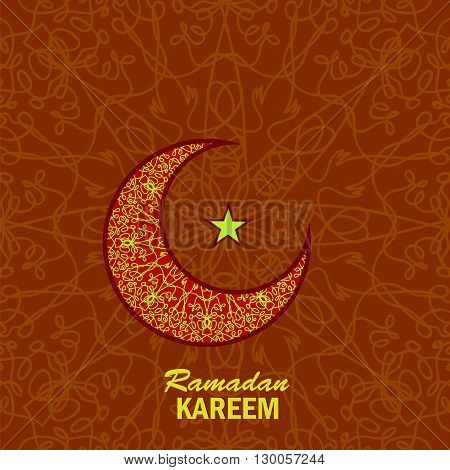 Ramadan Greetings Background. Ramadan Kareem Means Ramadan the Generous Month. Ramadan Greeting Card. Yellow Moon and Yellow Star on Red Ornamental Background