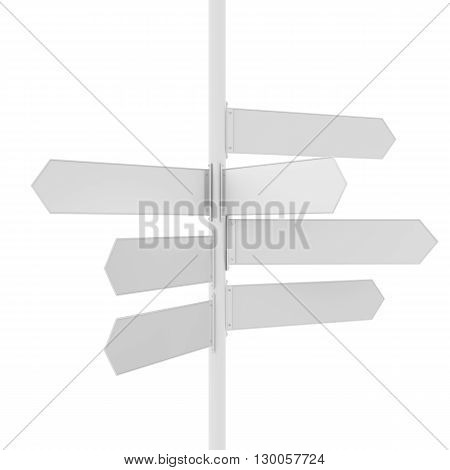 Empty white road direction pointer, isolated on white. 3D rendering