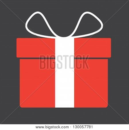Red gift box with ribbin and bow. Vector illustration