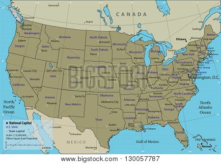 USA map with federal states. All states are selectable. Vector illustration