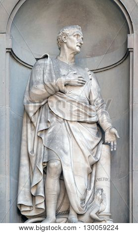 FLORENCE, ITALY-JUNE 05: Amerigo Vespucci in the Niches of the Uffizi Colonnade. The first half of the 19th Century they were occupied by 28 statues of famous people in Florence, Italy,on June 05,2015
